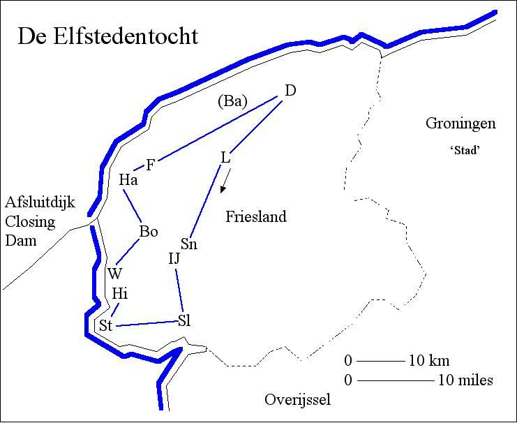 [a map of Friesland, showing the course of the 11-cities-tour]