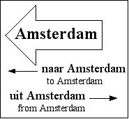 [a road sign pointing to Amsterdam]
