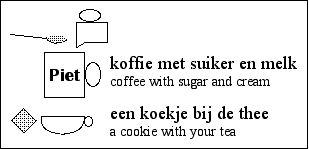 [a coffee mug, sugar and cream being added        - the mug says 'Piet' - and         a cup of tea with a cookie]