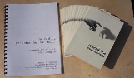 [my two printed book publications: a book of short stories in Dutch, 'In Jullie Tijd'  and a manual for drawing graphics for the blind]