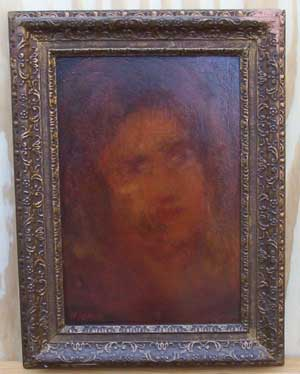 [a reddish painting of a woman's face, indistinct]