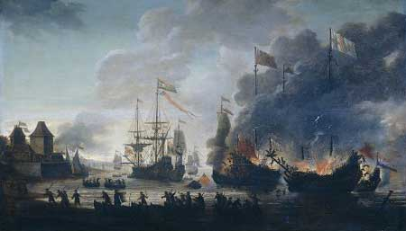 [a 17th-century painting of a sea battle]