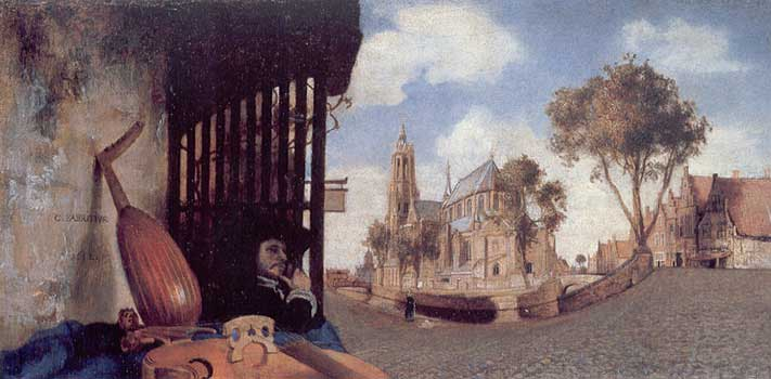 [a 17th Century painting of a Delft street scene]