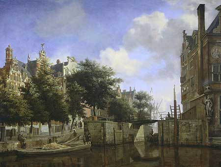 [a painting showing some old Amsterdam ]