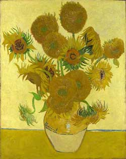 [one of Vincent Van Gogh's 'Sunflowers' paintings]