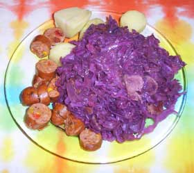 [red cabbage, sausage]