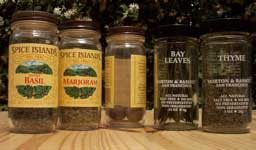 [a few spice jars: sweet basil, marjoram, whole nutmeg, bay leaves and thyme]