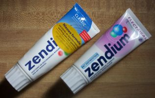 [two tubes of 'Zendium'  toothpaste]